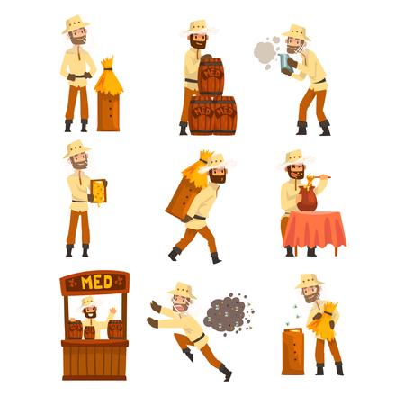 Hombre apicultor en el trabajo, apicultor cosecha, venta de miel, cuidado de abejas, apicultura y apicultura concepto vector ilustración aislada sobre fondo blanco. Ilustración de vector