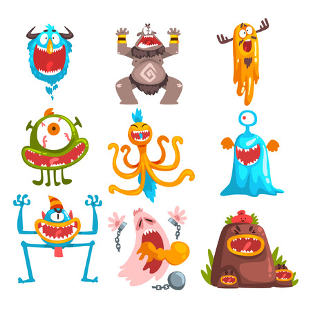 Monstruo de divertidos dibujos animados con diferentes emociones, personajes de coloridas criaturas fabulosas vector ilustración aislada sobre fondo blanco.