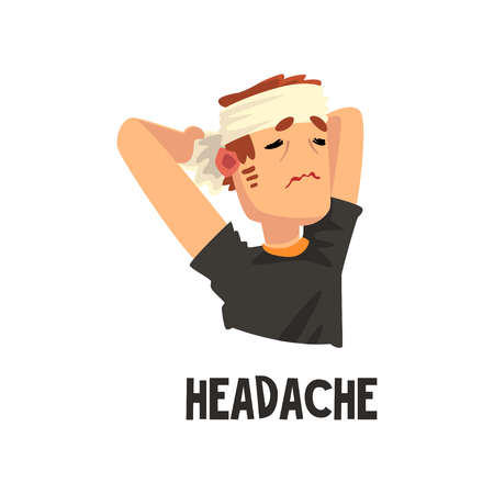 Man with a bandaged head suffering from headache, migraine, health problems, sick unhappy man character vector Illustration isolated on a white background.