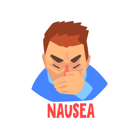 Man suffering from nausea, sick unhappy man character vector Illustration isolated on a white background. Illustration