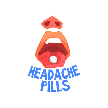 Headache pills, person suffering from headache, migraine, health problems vector Illustration isolated on a white background.