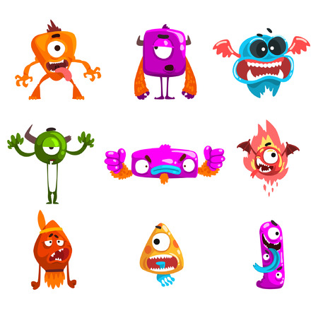 Funny cartoon monster with different emotions, colorful fabulous alien characters vector Illustration isolated on a white background.
