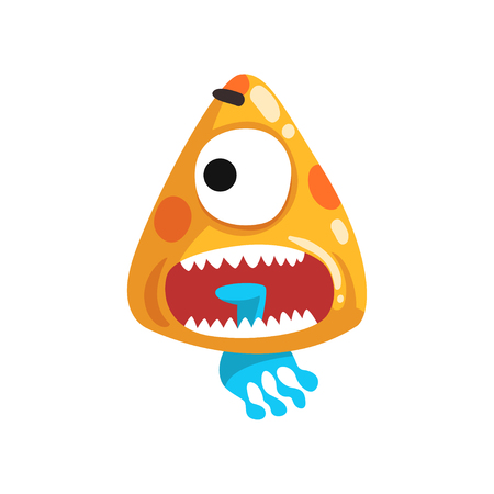 Funny one eyed toothy monster, fabulous creature cartoon character vector Illustration isolated on a white background.