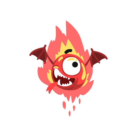 Funny fire winged monster, colorful fabulous creature cartoon character vector Illustration isolated on a white background.