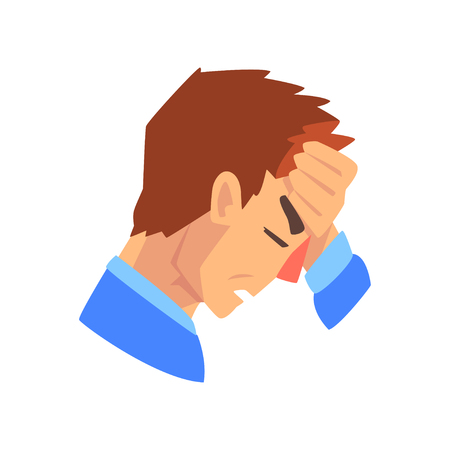 Man with a headache, migraine, health problems, sick unhappy man character, side view vector Illustration isolated on a white background. Illustration