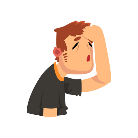 Man suffering from headache, migraine, health problems, sick unhappy man character vector Illustration isolated on a white background.