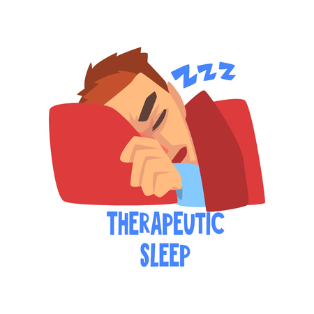 Therapeutic sleep, sick man character with a headache, migraine, health problems, vector Illustration isolated on a white background. Illustration