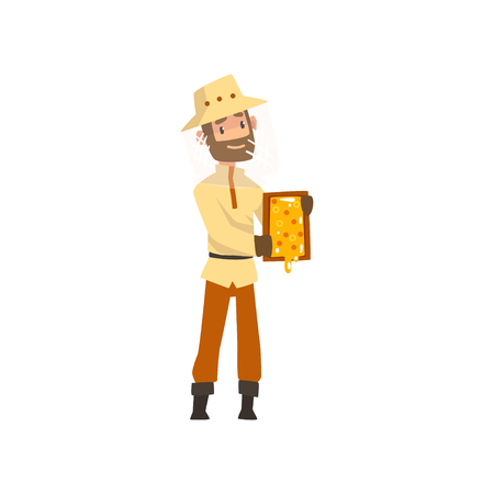 Beekeeper man with a honeycomb frame in his hands, apiculture and beekeeping concept vector Illustration isolated on a white background.