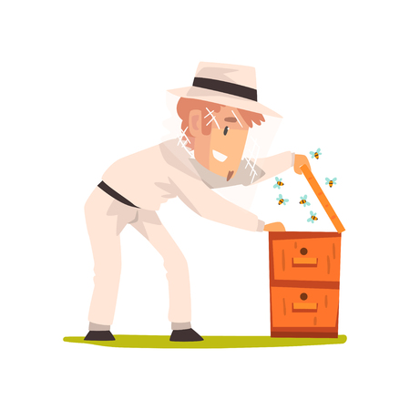 Beekeeper man hiver harvesting honey, apiculture and beekeeping concept vector Illustration isolated on a white background. Ilustração