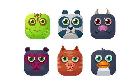 Cute animals set, square app icons, assets for GUI, web design, chameleon, panda, bull, bear, cat, penguin vector Illustration