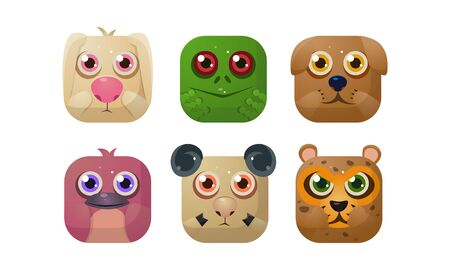 Cute animals set, square app icons, assets for GUI, web design, application store vector Illustration