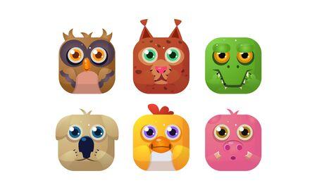 Cute animals set, square app icons, assets for GUI, web design, owl, lynx, crocodile, dog, chicken, pig vector Illustration