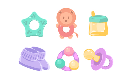 Newborn and baby care icons set, nursery accessories, baby shower and newborn concept vector Illustration isolated on a white background.