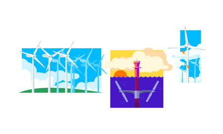 Wind and water turbines, renewable energy. clean energy generation production vector Illustration isolated on a white background. Illusztráció
