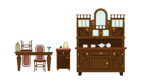Retro dining room interior with table, chairs and sideboard vector Illustration isolated on a white background.