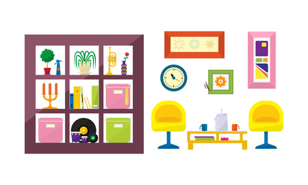 Interior of a living room with furniture vector Illustration isolated on a white background. Stock Vector - 126359855