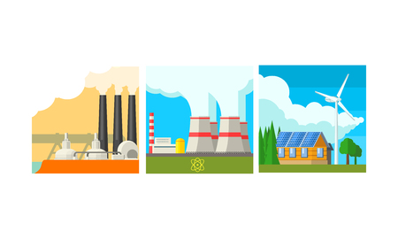 Power plant stations set, clean and polluting energy generation production vector Illustration isolated on a white background.