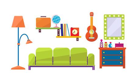 Interior de una sala de estar, espejo, cómoda, estantes, lámpara vector ilustración aislada sobre fondo blanco. Ilustración de vector