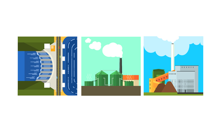Power plants, clean and polluting energy generation production, alternative energy vector Illustration isolated on a white background.