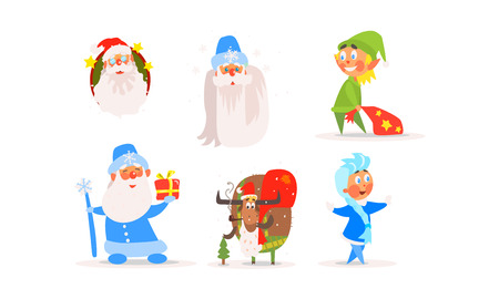 Funny Christmas characters for winter Holiday design, Santa Claus, Snow Maiden, elf, ram, New year and Christmas collection vector Illustration isolated on a white background.