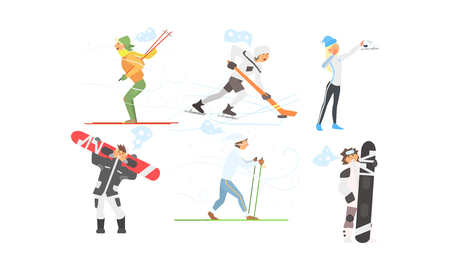 Winter sports activities set, skiing, hockey, figure skating, snowboarding vector Illustration isolated on a white background.
