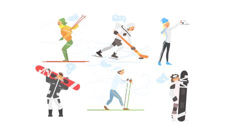 Zestaw sportów zimowych, jazda na nartach, hokej, łyżwiarstwo figurowe, snowboard wektor ilustracja na białym tle.