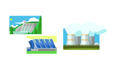 Power station, solar panels, water power plant, clean and polluting energy generation production vector Illustration isolated on a white background. Illusztráció