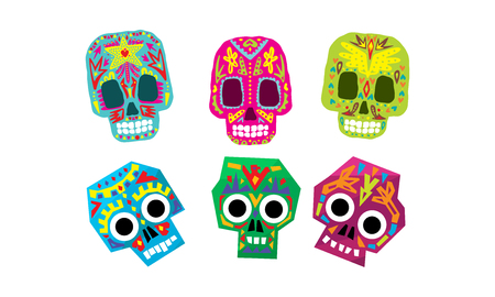 Mexican sugar skulls set, Day of the dead colorful symbols vector Illustration isolated on a white background.