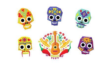 Mexican sugar skulls set, Day of the dead, Mexican cultural symbols vector Illustration isolated on a white background.