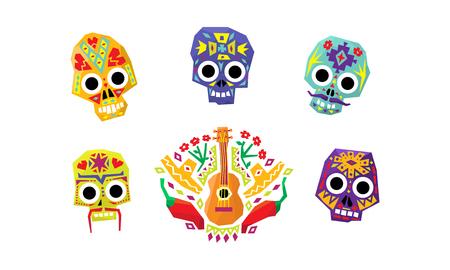 Set di teschi di zucchero messicano, giorno dei morti, simboli culturali messicani vettoriale illustrazione isolato su sfondo bianco.