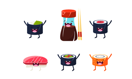 Funny sushi characters set, soy sauce, chopsticks, sushi rolls vector Illustration isolated on a white background.