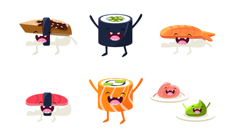 Funny sushi and roll characters set, asian food with cute faces vector Illustration isolated on a white background.