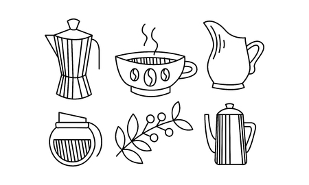 Hand drawn kitchen utensils, coffee themed sketches, coffee pot, cup, milk jug, sugar bowl vector Illustration isolated on a white background.