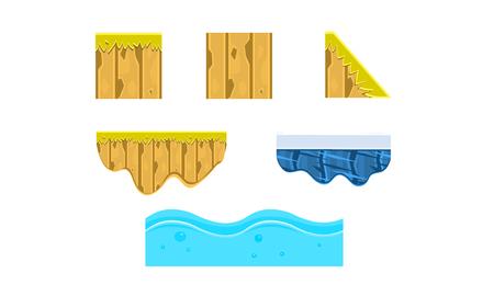 Ground, soil, ice, water, surface, gaming environment, landscape elements, platforms for mobile games, assets for GUI or web design vector Illustration Ilustração