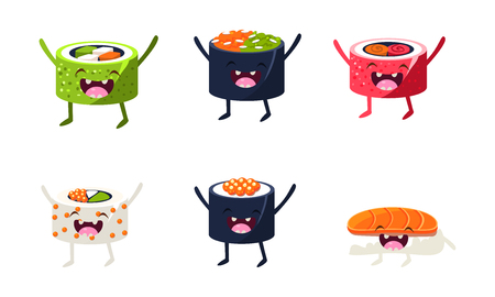 Funny sushi characters set, asian food with cute faces vector Illustration isolated on a white background.