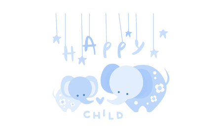 Happy child, cute kids poster with an elephant in blue colors, template can be used for invitation, card, poster, banner vector Illustration Illustration