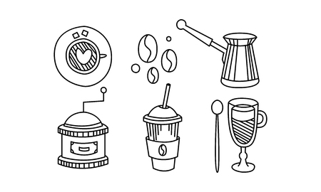 Hand drawn kitchen utensils, coffee themed sketches, turk, coffee beans, grinder, cup, vector Illustration isolated on a white background.