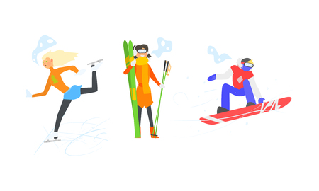 Winter sports activities set, skiing, figure skating, snowboarding, winter vacation vector Illustration  イラスト・ベクター素材