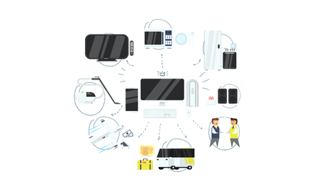 IOT online synchronization and connection via smartphone or computer wireless technology, home appliances management vector Illustration