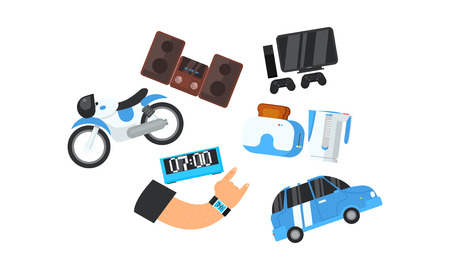 Male hand and his electronic gadgets, devices, home appliances, transport vector Illustration isolated on a white background.