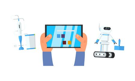 Robot and blender controlled via tablet with remote control app, vector Illustration 向量圖像