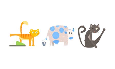 Funny animal characters in different situations vector Illustration isolated on a white background. Stock Vector - 114837511