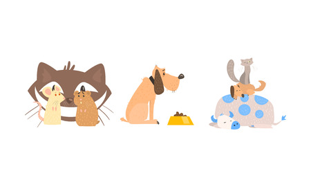 Funny animal characters in different situations, cat and mice, dog, sleeping animals vector Illustration isolated on a white background.