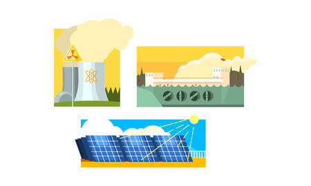 Power station, solar panels, nuclear plant, clean and polluting energy generation production, non renewable and alternative energy source vector Illustration isolated on a white background. Çizim