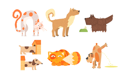 Funny cats and dogs of different breeds, cute animals in different situations, best friends vector Illustration isolated on a white background.