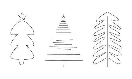 Christmas trees set, hand drawn monochrome fir trees, pines or spruces vector Illustration