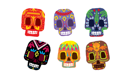 Mexican sugar skulls set, Day of the dead colorful symbols, Dia de los muertos vector Illustration isolated on a white background. Illustration