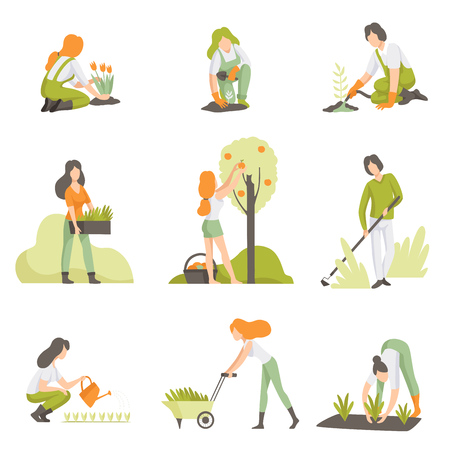 People caring for plants in the garden set, men and women growing agricultural products vector Illustration isolated on a white background.