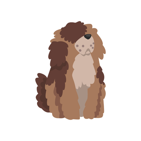 Cute shaggy dog, funny pet character, furry human friend vector Illustration