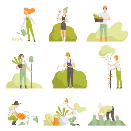 Menschen, die sich um Pflanzen im Garten kümmern, stellen, Männer und Frauen, Bewässerungspflanzen, wachsende landwirtschaftliche Produkte vector Illustration lokalisiert auf einem weißen Hintergrund ein.